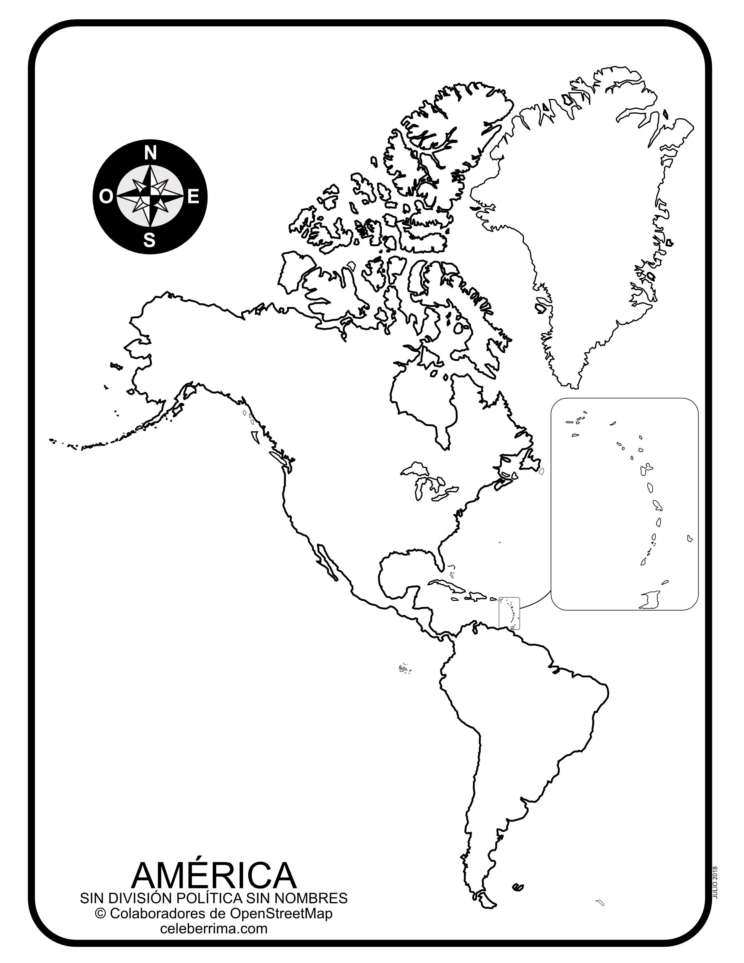 Mapa De América Con División Política Con Nombres Y