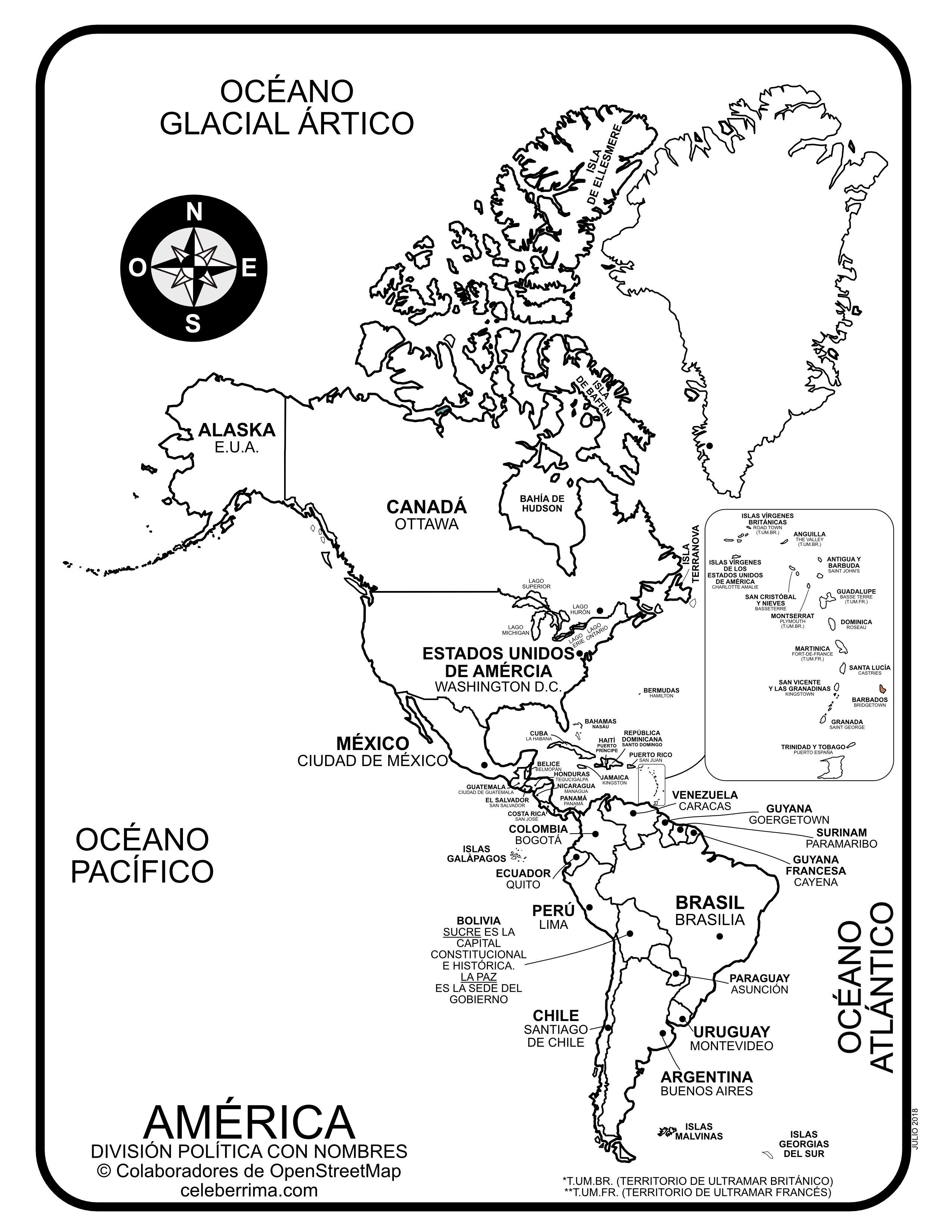 Mapa de América con división política con nombres y capitales para ...