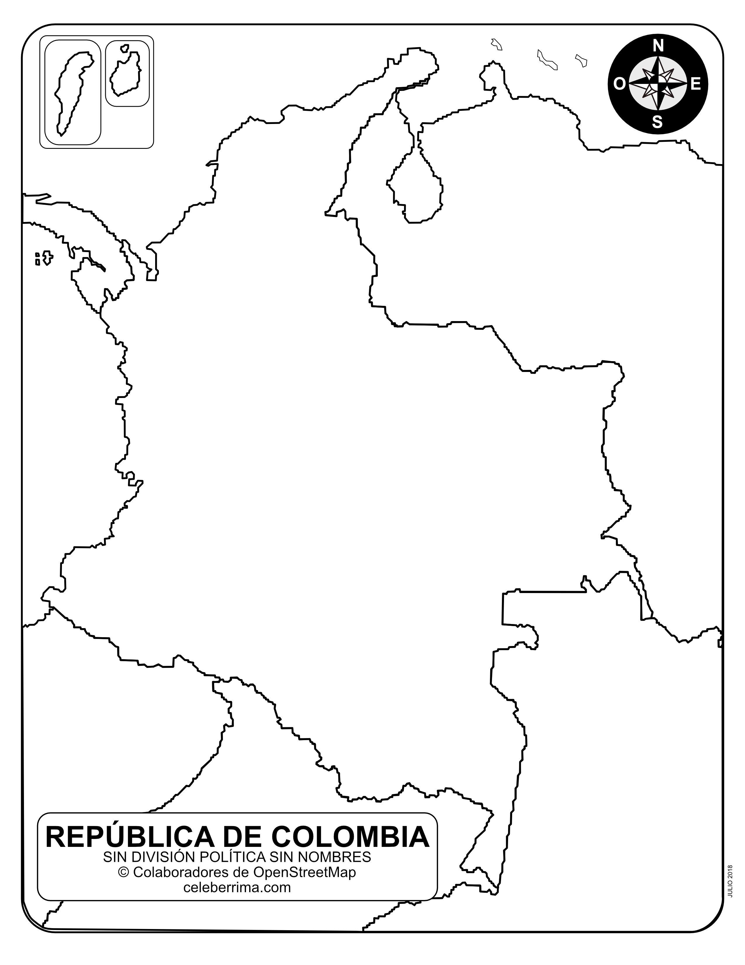 Mapa De Colombia Con Sus Departamentos Y Capitales Para