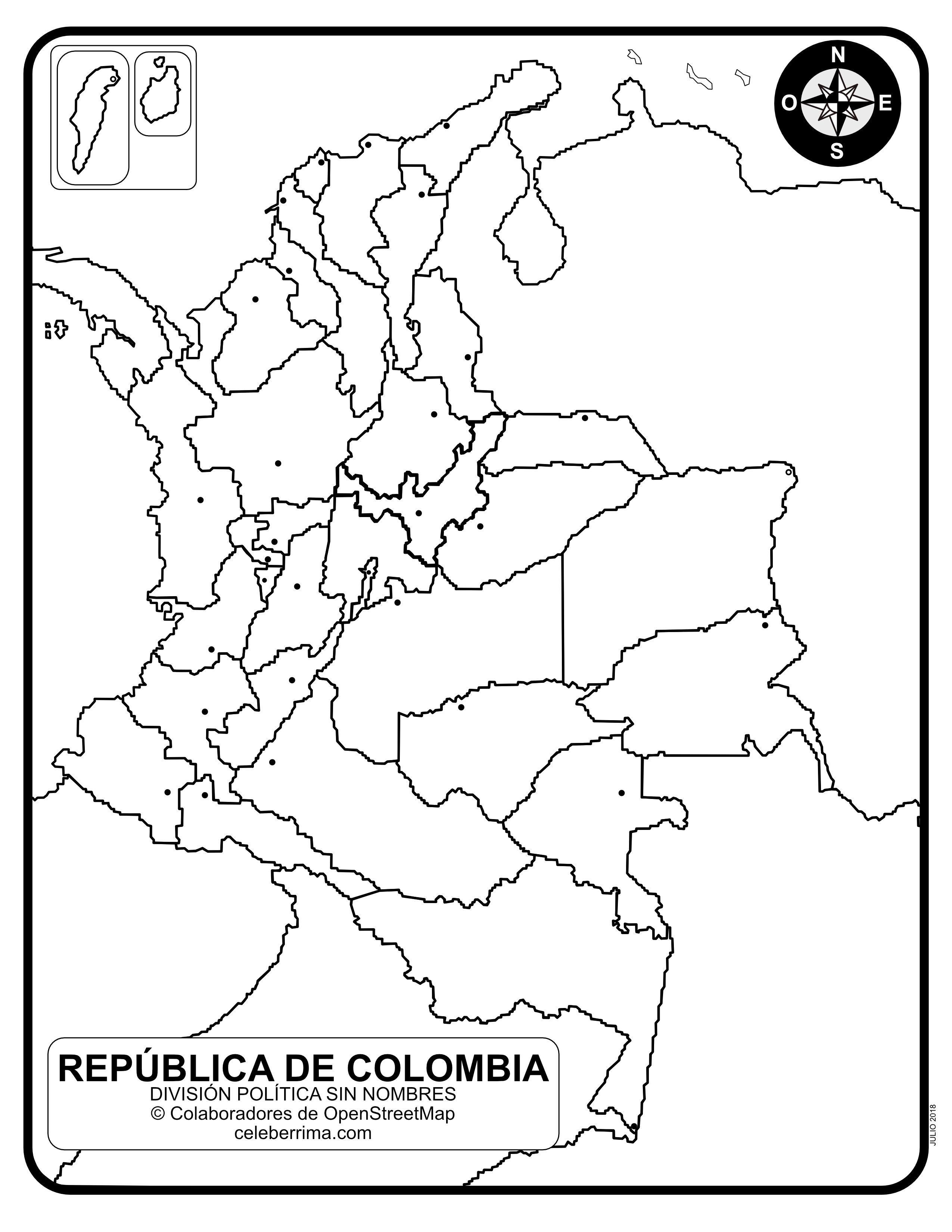 Mapa de Colombia con sus departamentos y capitales para colorear ...