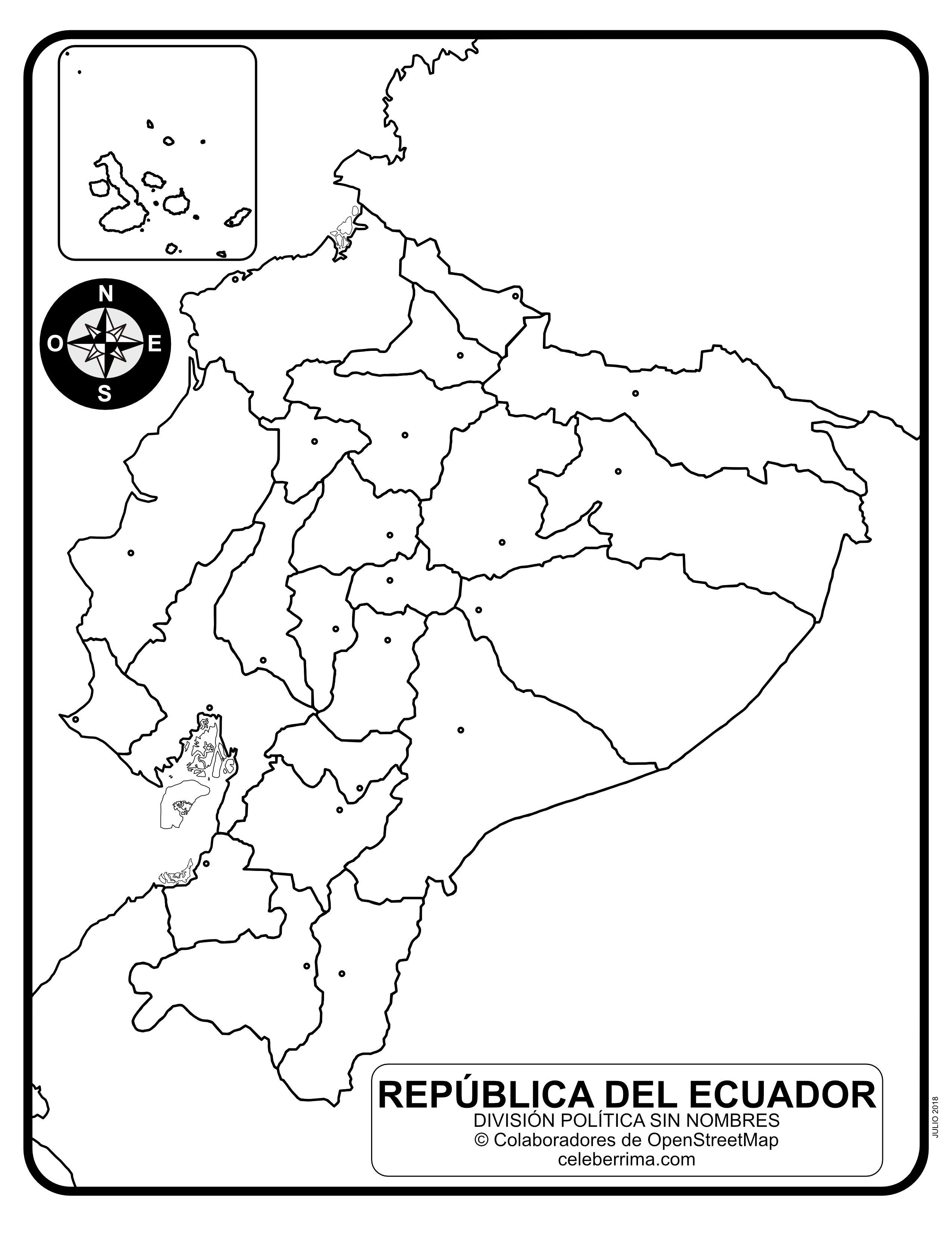 Mapa De Ecuador Con Nombres De Provincias Y Capitales Para