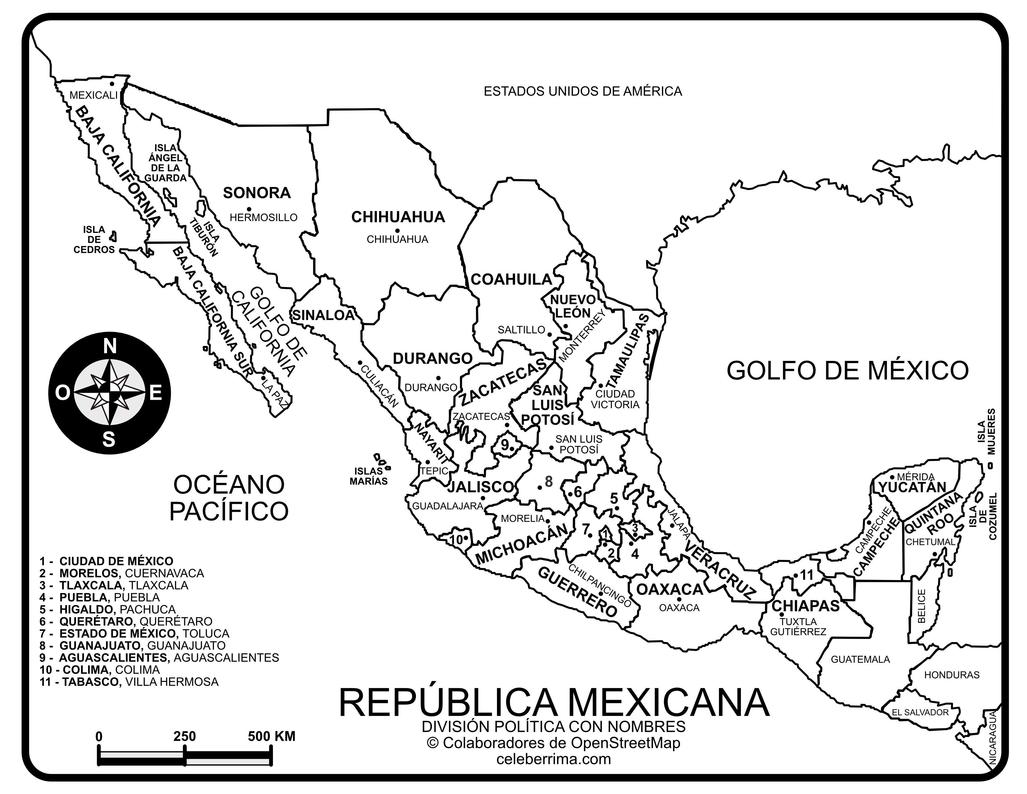 Mapa República Mexicana Con Nombres Y División Política Para