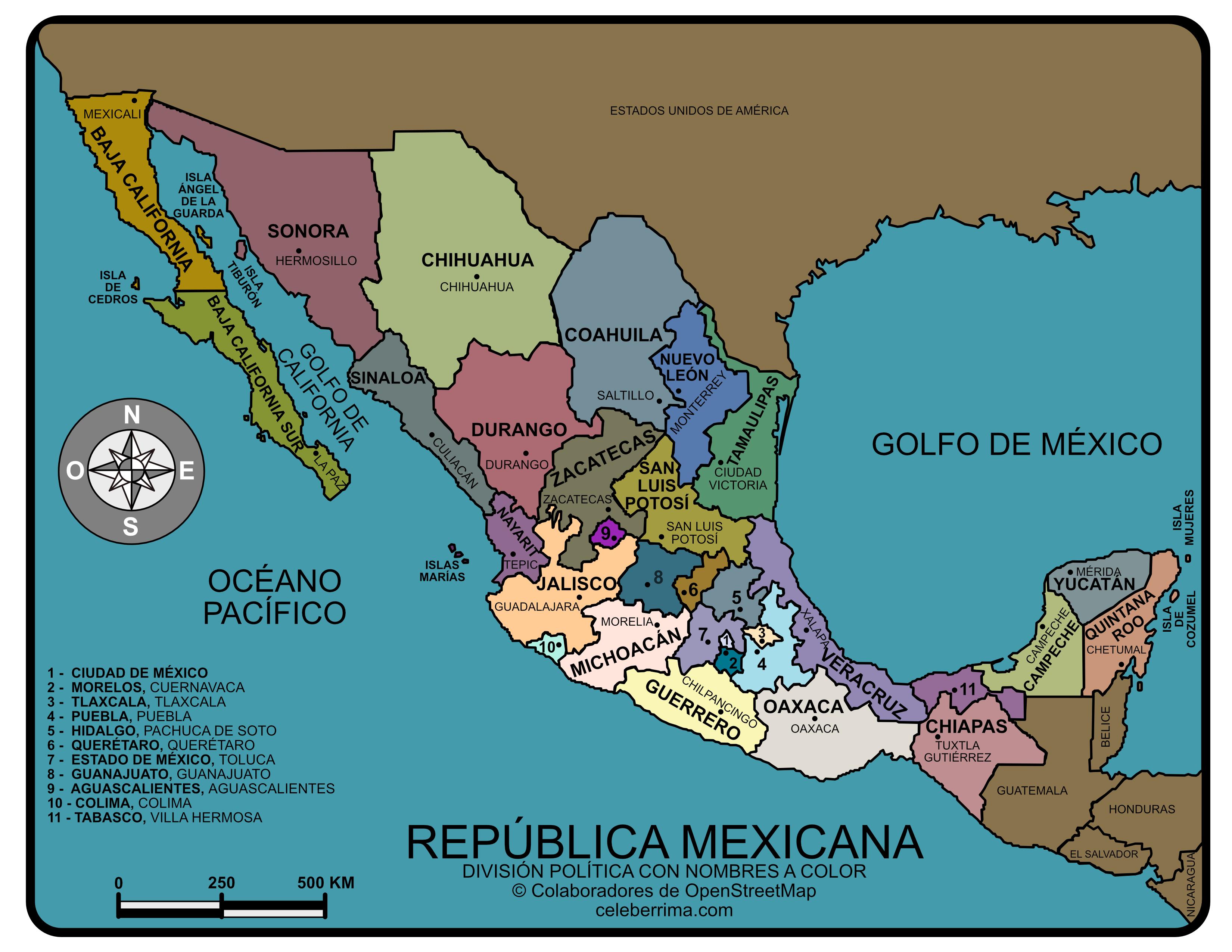 Mapa Republica Mexicana Con Nombres Y Division Politica Para