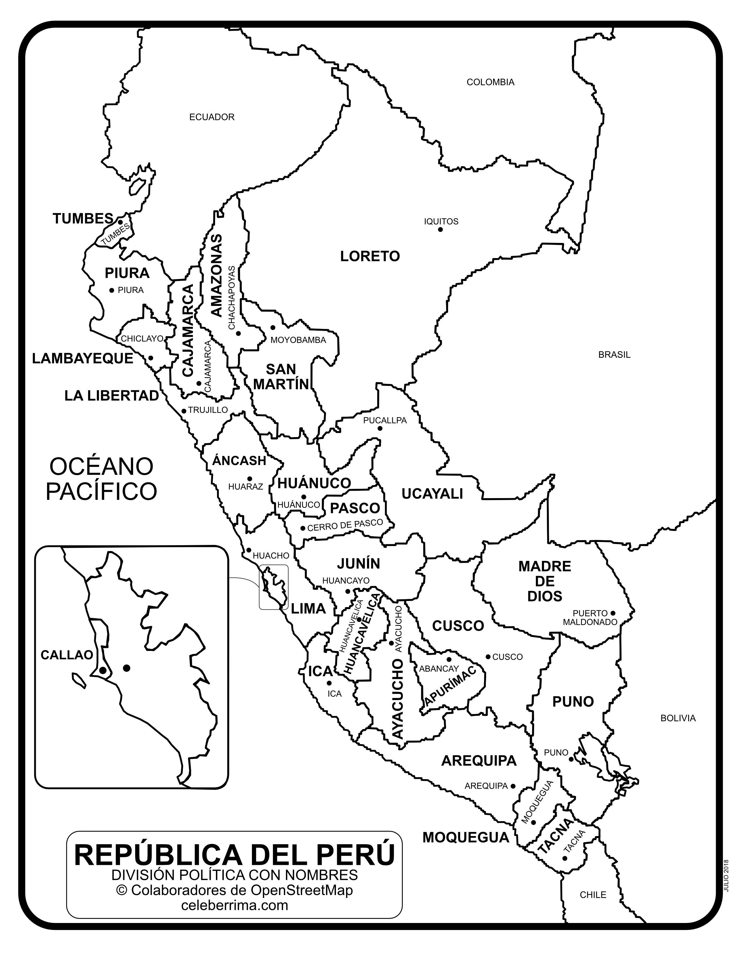Mapa de Perú con departamentos y capitales para colorear ...
